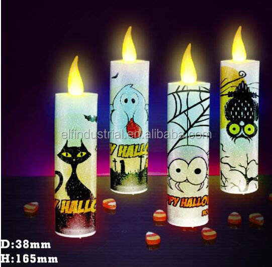Japan products wholesale latest innovative custom animal print battery operated multi-color pillar halloween led candle light