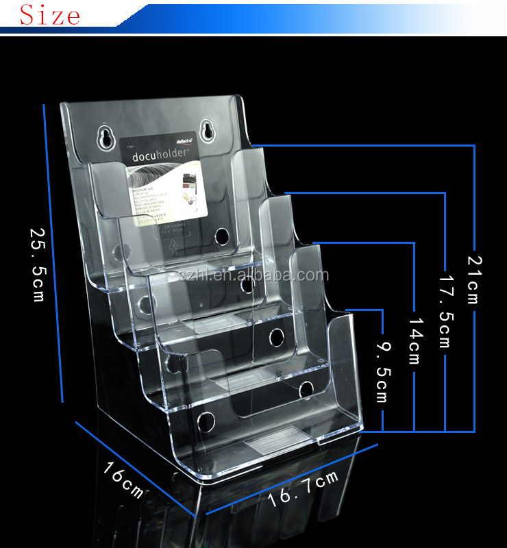 Premium Large 4 Tier Magazine Organizer, Brochure Holder, Wall Mount or Counter Top Use Clear Acrylic