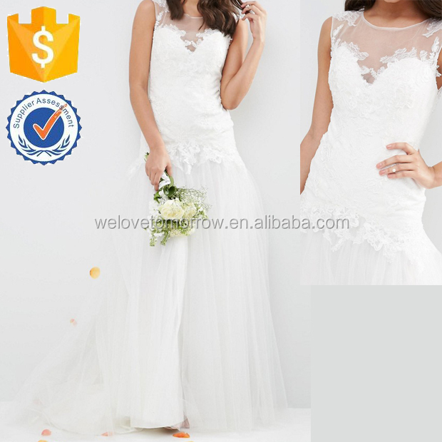 White Princess Lace Bodice Mesh Skirt Weddind Maxi Dresses Manufacture Wholesale Fashion Women Apparel (TF0311D)
