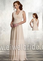 S1212 Charming v neck chiffon dress and coral mother of the bride dress