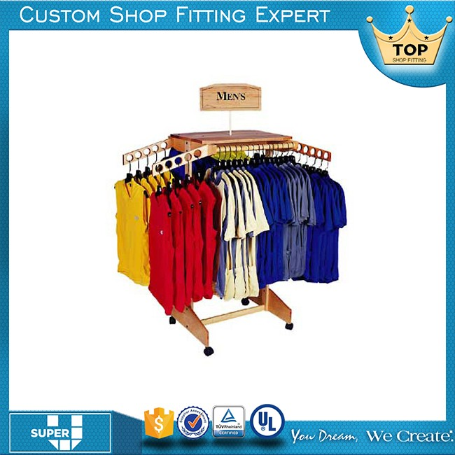 Garment store chrome 4 way clothing rack with 4 straight arms