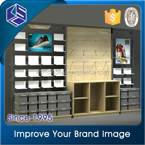 2015 KSL Customized famous brand sports shoes store display racks, shoes display fixtures,shoes display showcase