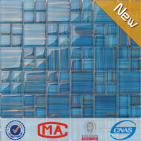 LJO JY-G-33 High Quality Golden Line Crystal Iridescent Blue Mosaic Glass Tile