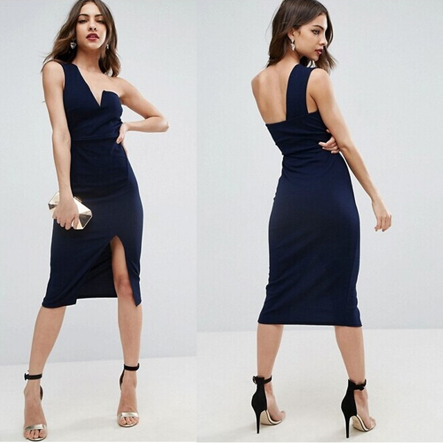 2017 Summer Sexy dress One shoulder dress Party Pattern