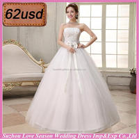 OYSC62-36 wholesale price made in China diamonds shinny lace fabric top satin bow front lace up matching bow wedding dresses