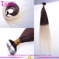 2015 Factory wholesale cheap ombre hair extension virgin indian remy tape hair extension