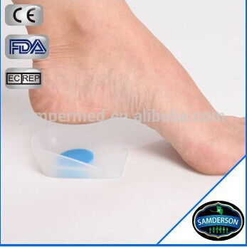 Orthotic custom silicone heel pad insole/ heel silicone foot care insole