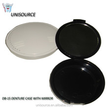 denture container with mirror