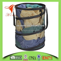 Pop up folding mesh laundry hamper collapsible