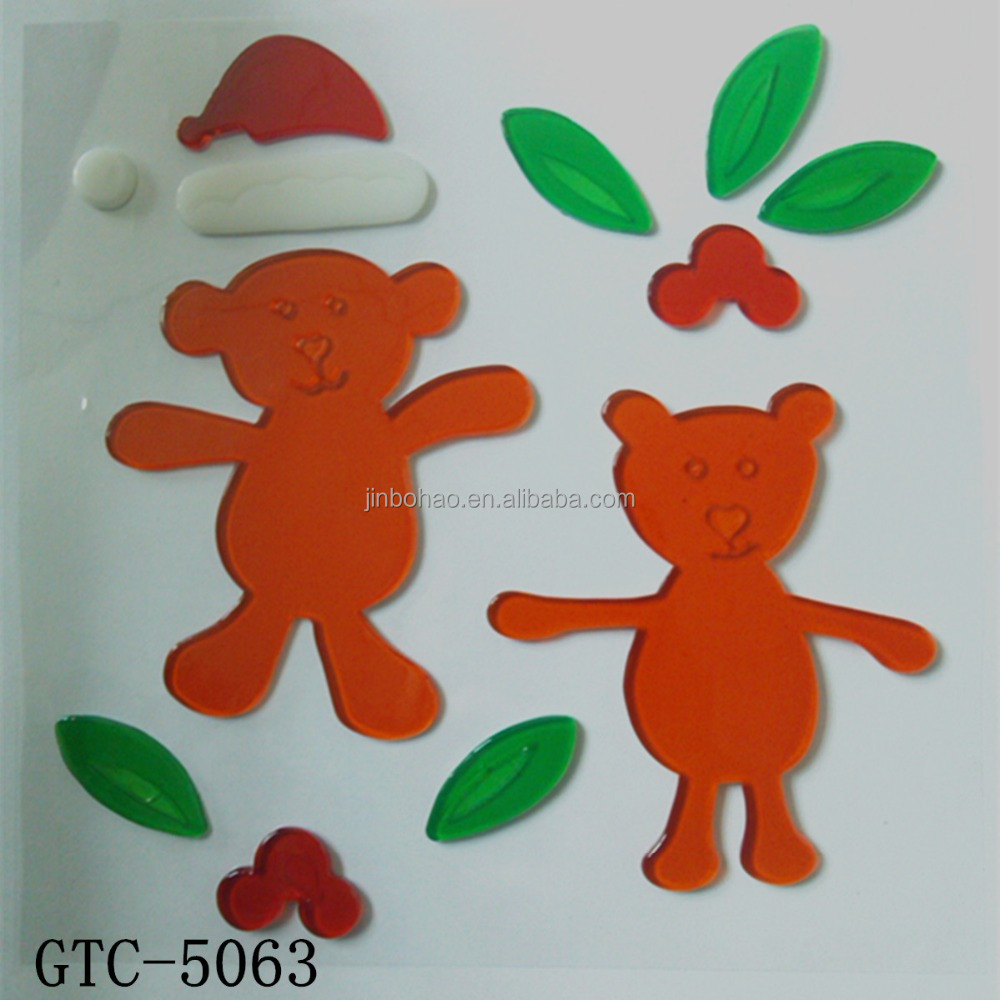 China factory wholesale Christmas ornament gel cling window decoration window sticker for christmas