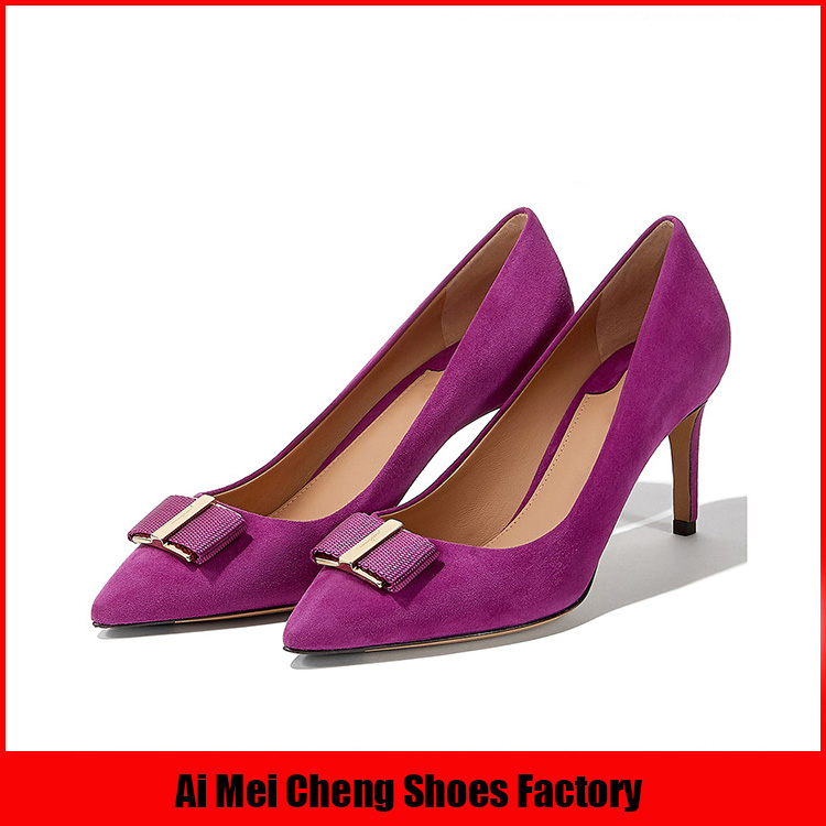 Italian Latest New Design Wholesale Leather Office Fashion High Heel Lady Shoes