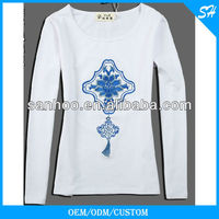 Anti-Shrink Cotton Embroidered Long T Shirt For Women On Sale