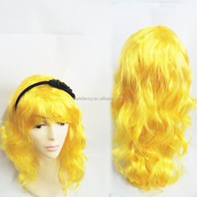 yellow synthetic kinky curly lace front wig wholesale noble synthetic hair QPWG-8134
