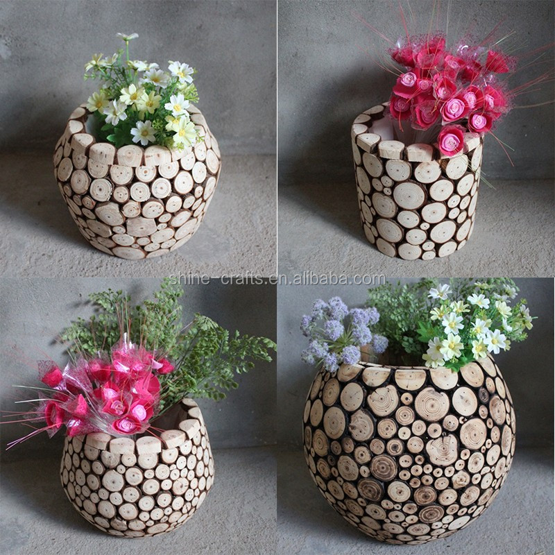 China factory supply folk art styles wooden flower pot stands