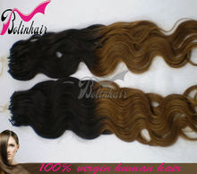 Economical and practical body wave two tone color 100% indian human micro ring loop hair extension