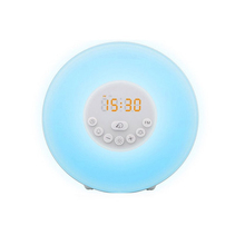 WB HX6647 RGB wake up light simulation sunrise alarm clock with 6 natural sound