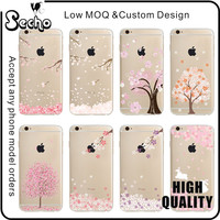 Clear Soft TPU Silicone Back Cover Bumper Ultra Thin Slim Fit Clear Flower Sakura Protective Phone Case for iPhone 6 6S