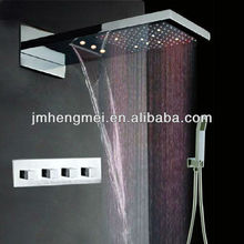 Top design led waterfall shower 2 function rainfall shower set