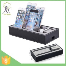 4 in 1 multifunctional black PU leather charging stand holder for apple bluetooth smart watch for iphone ipad tablets