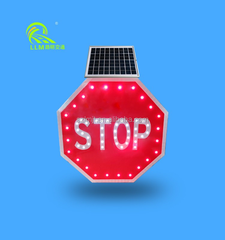 CE approvalled octagon aluminum solar LED safety light traffic stop sign