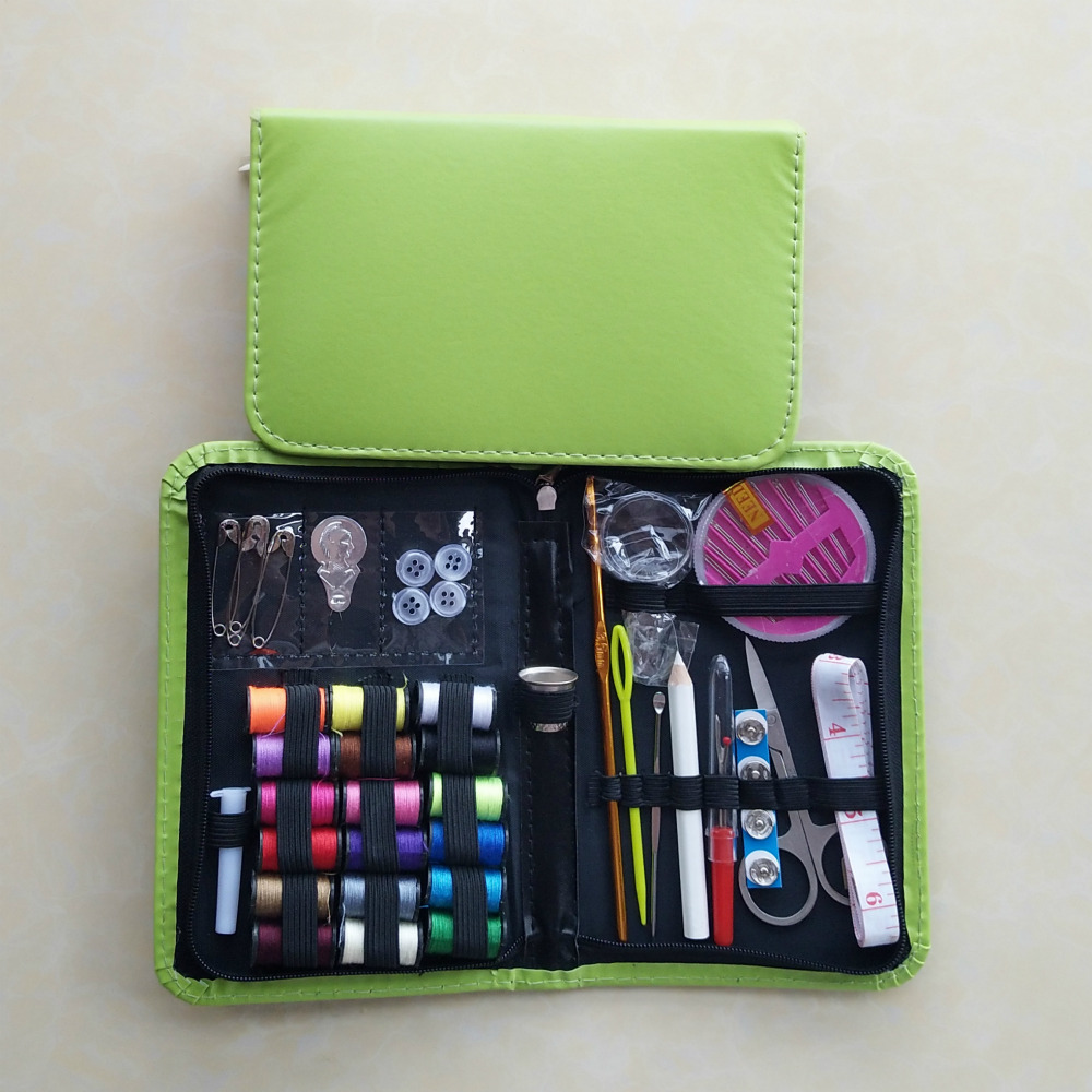 Zippered Closure Small and Portable Leather Sewing Kit for Travel