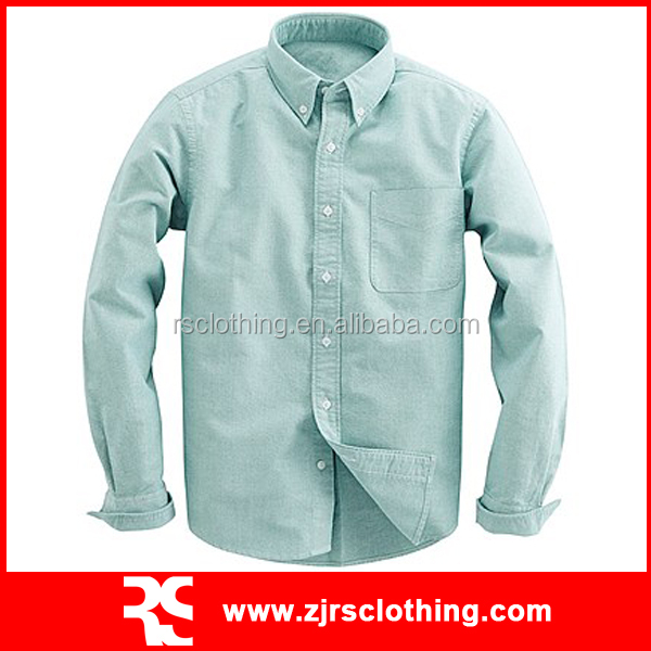 Mens Long Sleeve Cotton Oxford Casual Shirt with Pocket