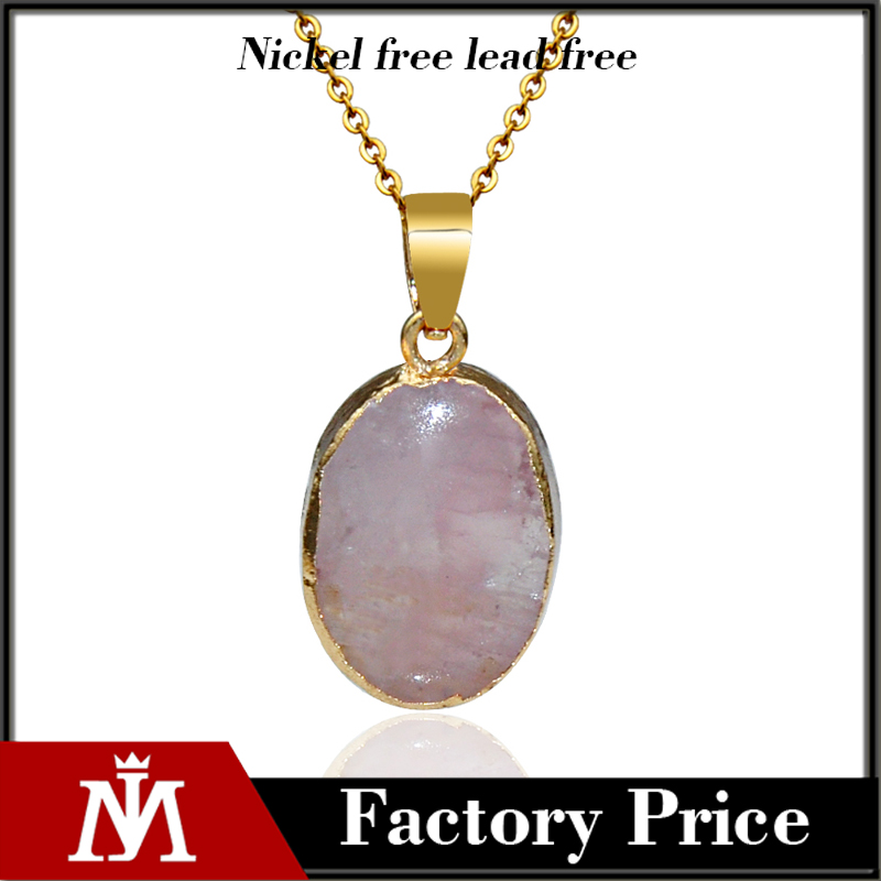 Natural Stone Crystal Water Drop Pendant Necklace Gold Plated Necklace <strong>Jewelry</strong> for Women gift