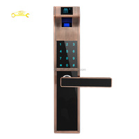 Smart touchpad digital fingerprint door lock with mechanical emergency keys