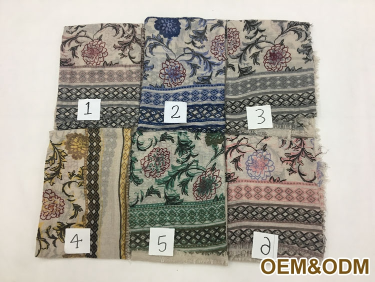 Original Design 90x180cm Creative Flower Printed Viscose Hijabs Scarf Muslim Woman Hijab