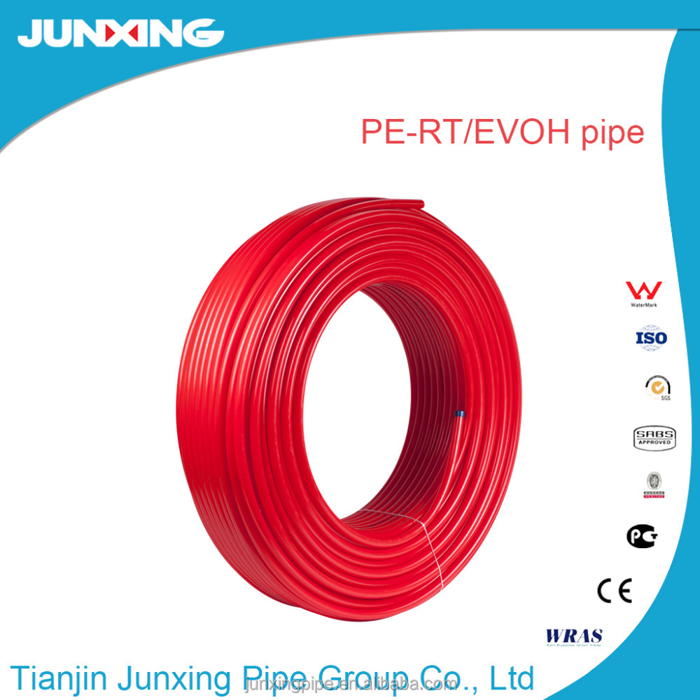 PERT/EVOH/PERT multilayer composite pipes with oxygen barrier for under floor heating