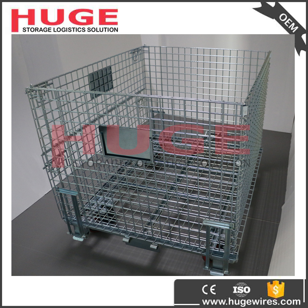 folded nastable warehouse storage box/steel storage/storage cage with wheels on alibaba