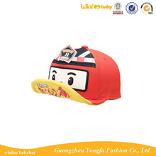 robocar poli cartoon baby hat curve brim snapback cap and hat for kids children
