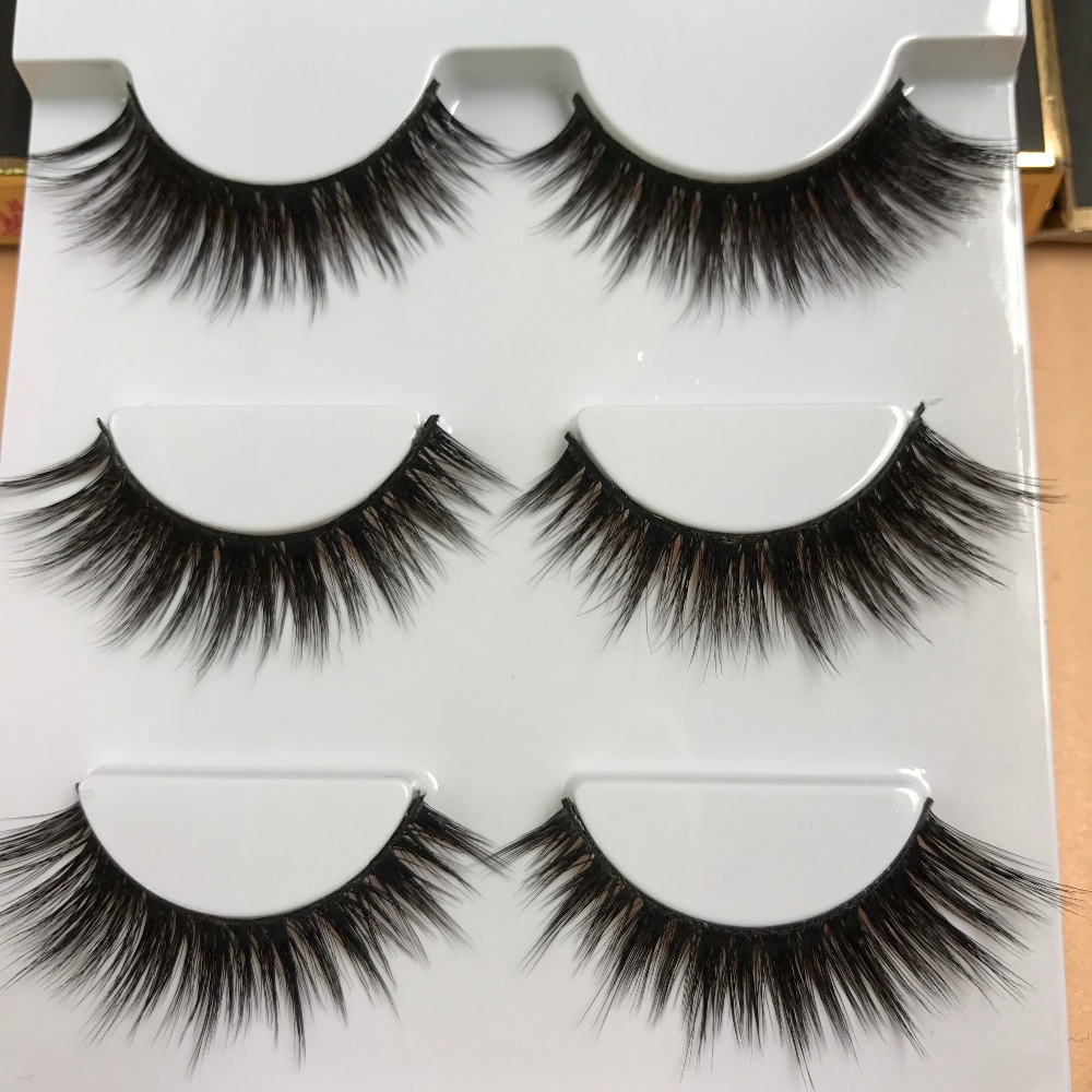 2017 factory price Korea natural style permanent mink strip false eyelashes with 3 pairs for one set