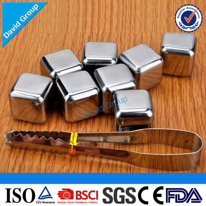 Certified Top Supplier Wholesale Custom Stainless Steel Whiskey Stone With Tongs