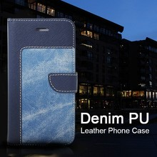High Quality Cow Boy Style Denim PU Leather Combo Phone Cover for Iphone6 Case Design with Magnetic Flip Button