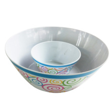 Wholesale 6 inch 10&quot; customized printed Round plastic melamine <strong>flat</strong> bottom salad bowl