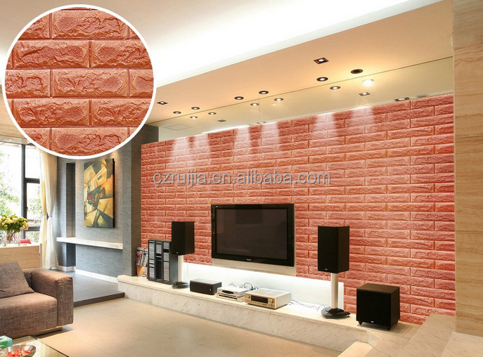 2016 new product XPE Foam 3D Wallpapers / brick design 3D Wall Sticker