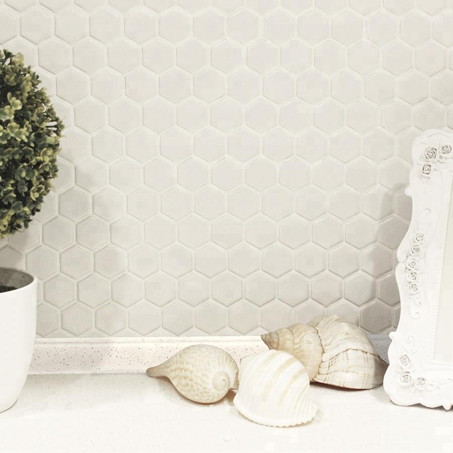 MM Mosaïque pas cher brillant blanc mosaïque hexagone en céramique ...