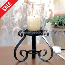 made in China black metal windlight candle holder with glass