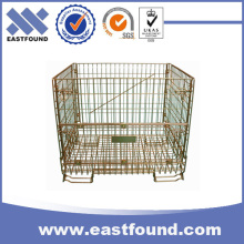 European folding storage wire mesh cage metal pallet bins