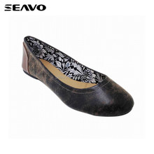 SEAVO SS18 distinctive new style crazy horse PU upper T-material lining design black ladies flat shoes