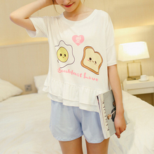 Summer Cute Cartoon Short Sleeve Shorts Pajamas Suit for Girls