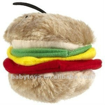 Plush Squeaky Sound Toys Hamburger Chew Pet Toys for Dog