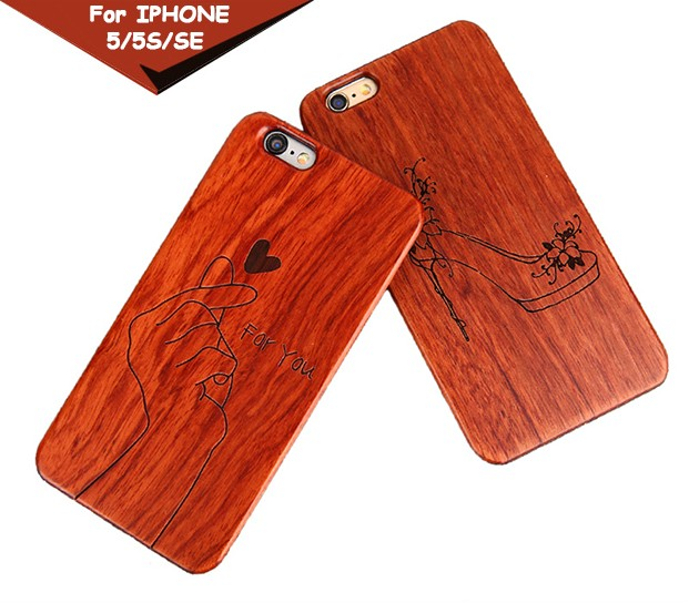 Laser pattern engraving logo wooden phone case PC hard shell cover for iphone SE case