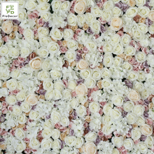 Quality 40x60cm Plastic Rose Artificial Hydrangea White Flower Wall Panel For Wedding Party Birthday Stage Decoration Backdrop