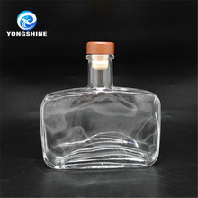 Clear square flat 500ml vodka glass bottle