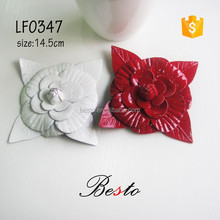 14.5CM Italy popular style red and white color available leather flowers for woman bags decoration