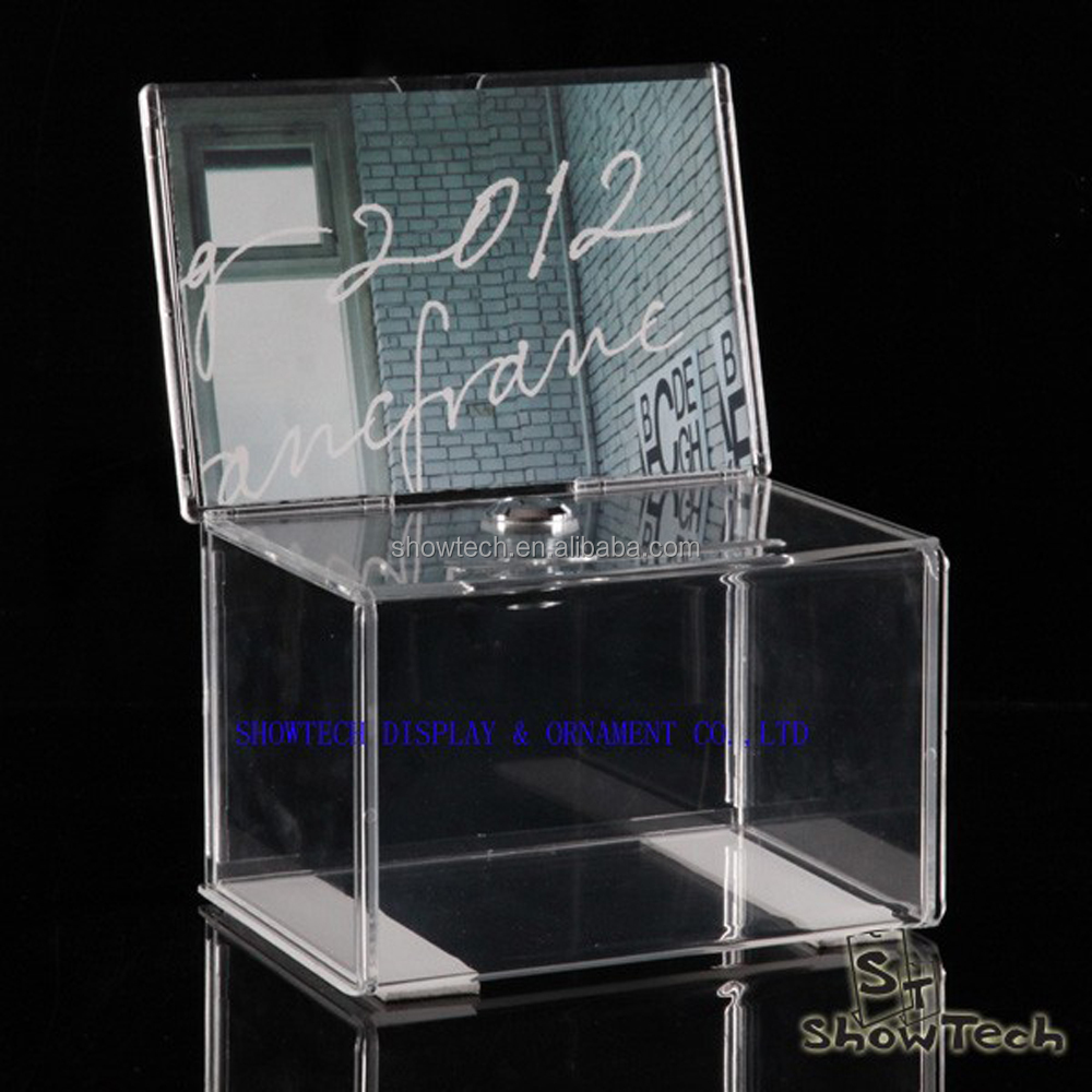 Clear Acrylic Donation / Ballot Box / Collection Box with Lock