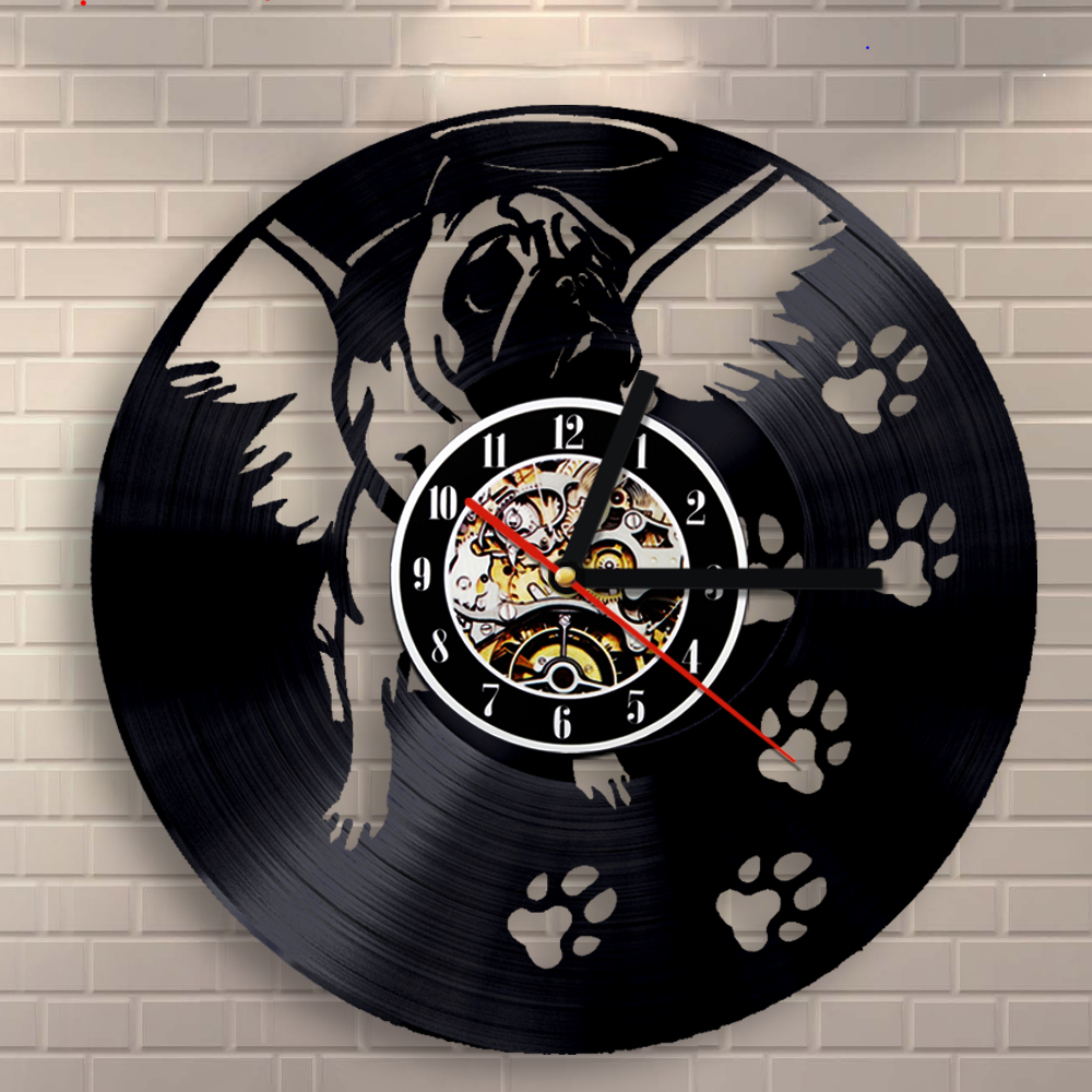 OEM Dropshipping Cute Gog Vinyl Wall Clock 12Inch Vintage LP Record Puppy Timepiece Animal Art Wall Home Decorative Clock