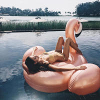 Giant Inflatable Rose Gold Flamingo Swimming Float Ride-on Water Toys Beach Pool